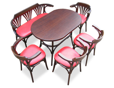 Bistro Table with wooden benche and 4 upholstered  bentwood chairs